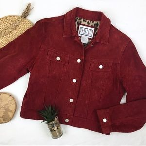 BB Dakota Vintage Burgundy Leather Suede Jacket